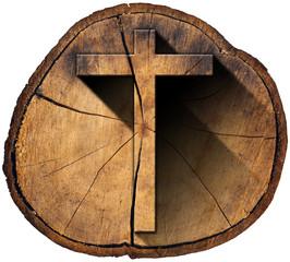 Wooden Cross on Tree Trunk