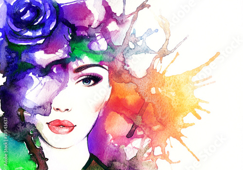 Leinwanddruck Bild woman portrait  .abstract  watercolor .fashion background