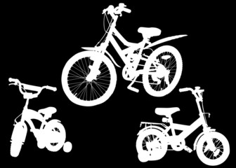 set of three bicycle silhouettes isolated on black