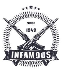 infamous since 1949 dark grunge emblem vector, eps10