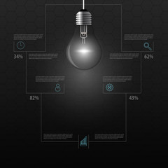 Creative wire light bulb idea. Infographics. Vector