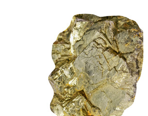 Pyrite on a white background