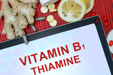 Tablet with words Thiamine (vitamin B1)
