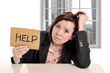 frustrated businesswoman in stress at office asking for help