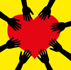 Hands Heart Circle vector, yellow background, hands vector