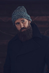 Man with Long Beard in Winter Fashion Outfit