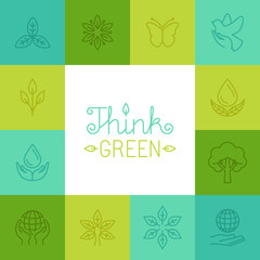 Vector think green concept in linear style