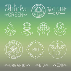 Vector linear ecology and organic badges and logos