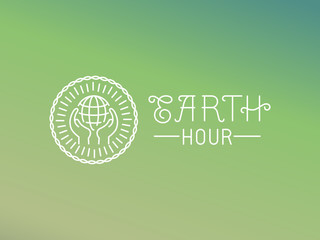 Vector earth hour logo design in linear style
