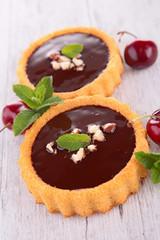 chocolate cake and cherry