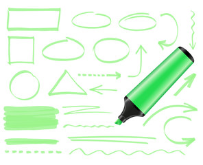 Green highlighter and set of hand drawn elements