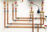 copper pipes in boiler-room - 79547066
