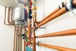 copper pipes engineering in boiler-room - 79547406
