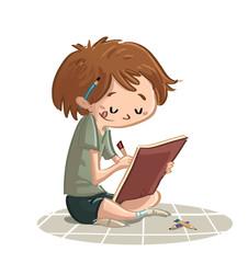 niño dibujando con colores
