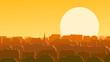 Horizontal illustration of downtown European city at sunset.