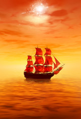 Sunrise. Lonely red sailing ship
