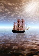 Lonely sailing ship in sea