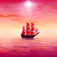 Pink sunrise with lonely sailing ship