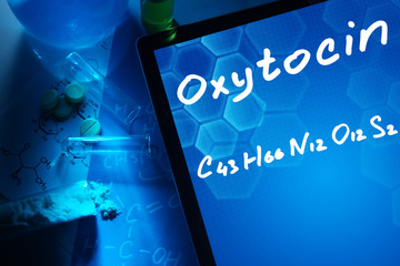 Tablet with the chemical formula of oxytocin.
