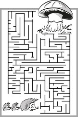 Mushroom labyrinth with a cute hedgehog family.