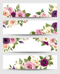 Vector banners with colorful roses, lisianthus, anemone flowers.