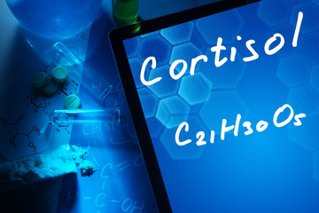 Tablet with the chemical formula of cortisol.