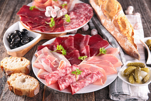 Papiers peints Assortiment table with meat, bread, olive