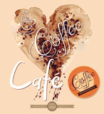 Illustration with coffee background