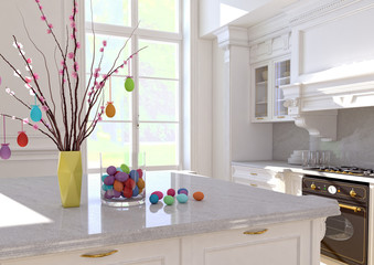 Easter eggs decorations on wooden table. 3d rendering