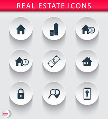 Real estate 3d trendy round icons vector illustration, eps10