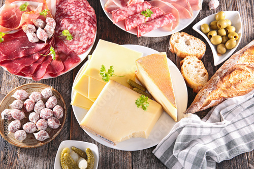 assortment of cheese, meat - 79550419