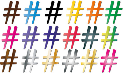 18 hashtag colorati