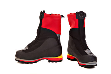 Pair of climbing  boots  for mountaineering and ice climbing.