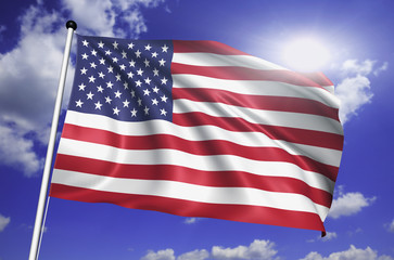 United States flag with fabric structure against a cloudy sky