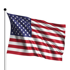 United States flag with fabric structure on white background