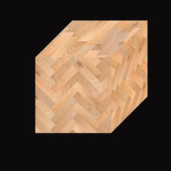 Cube with texture  of parquet floor