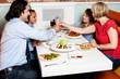 Family dinner at restaurant