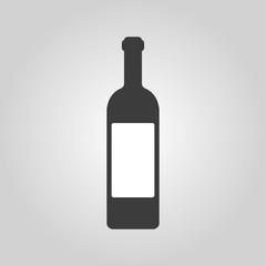 The wine icon. Bottle symbol. Flat