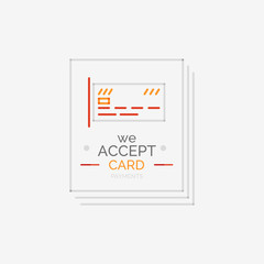 Line design shopping stamps, accept card label