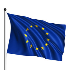 European Union flag with fabric structure on white background