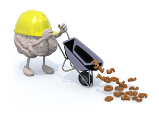 brain with arms, legs and workhelmet carries a wheelbarrow numbe