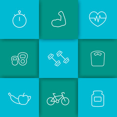 white line fitness icons on teal and blue abstract background