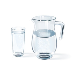 glass of water and glass jug