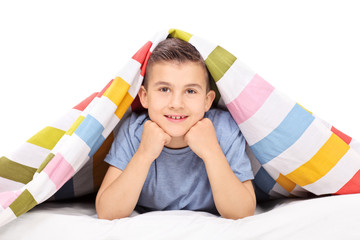 Little boy lying on bed covered with a blanket