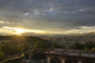 Panoramic view of the city of Florence at sunset