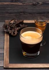 espresso coffee with cognac