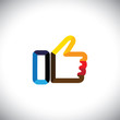 colorful hand thumbs up symbol - like vector icon