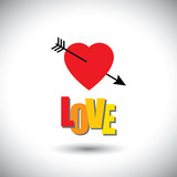 human heart icon and love words and arrow - simple vector graphi poster
