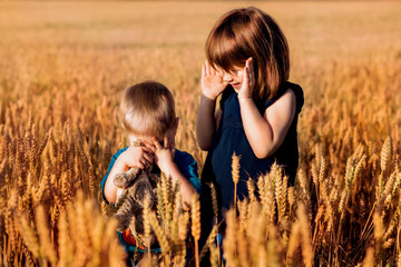 Brother and sister playing in a field