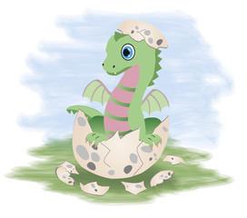 Little fairy dragon, vector illustration